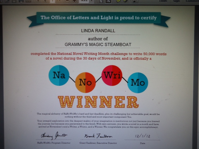 NANOWRIMO Winner 2012 Linda Randall Grammy's Magic Steamboat