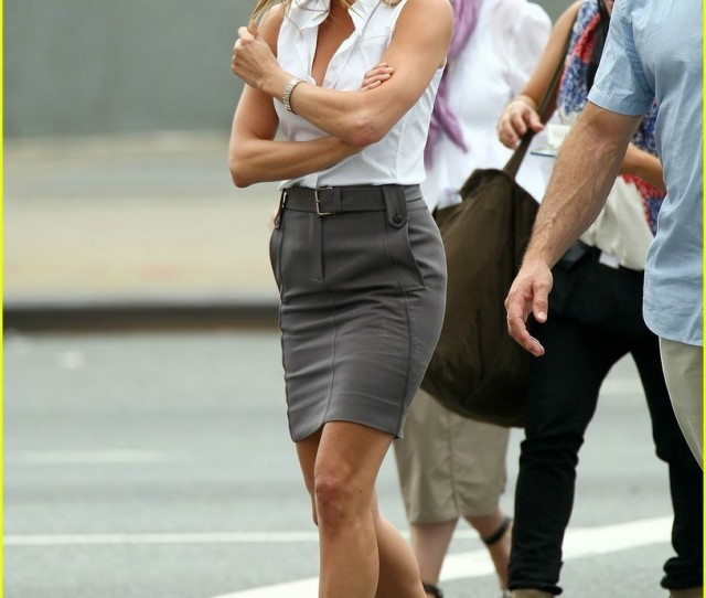 Jennifer In New York Jennifer Aniston White Blouse Grey Skirt Sexy Legs And Heels