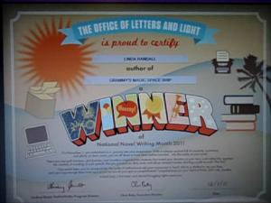 winner's certificate nanowrimo nov 25 2011 Grammy's Magic Space Ship Author Linda Randall Twitter @theideagirl
