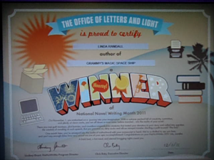winner's certificate nanowrimo nov 25 2011 Grammy's Magic Space Ship Author Linda Randall Twitter @theideagirl