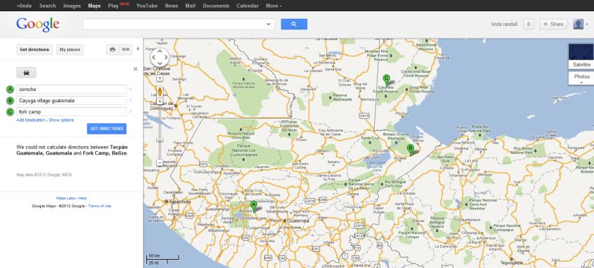 Iximche to Fork Camp Belize Google Maps maya underground ...