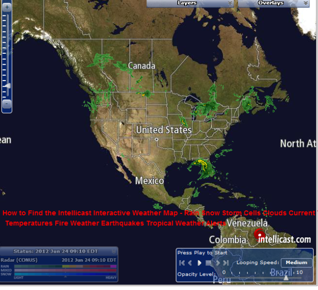 how to find the intellicast interactive weather map rain snow