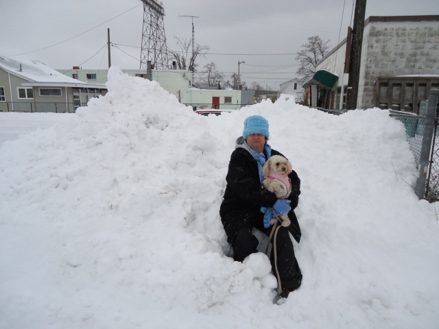 linda and daisy in the big snow drift happy jacks parking lot fort erie