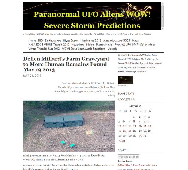 Paranormal UFO Aliens WOW  Severe Storm Predictions Victoria Stafford a Psychic Investigation WordPress Blog gets 1,000, 373 hits 21 may 2013 (next goal achieved) linda randall