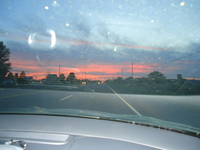 hwy 3 sunset through car window sept 6 2013 linda randall