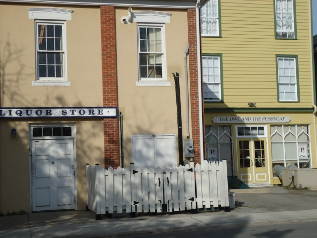 LCBO liquor store the owl and pussycat public washrooms behind buildings NOTL lR