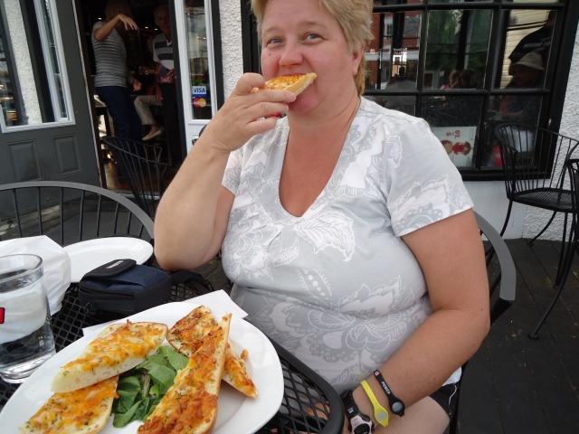 Linda Randall enjoying garlic bread cheese Corks winebar  eatery NOTL