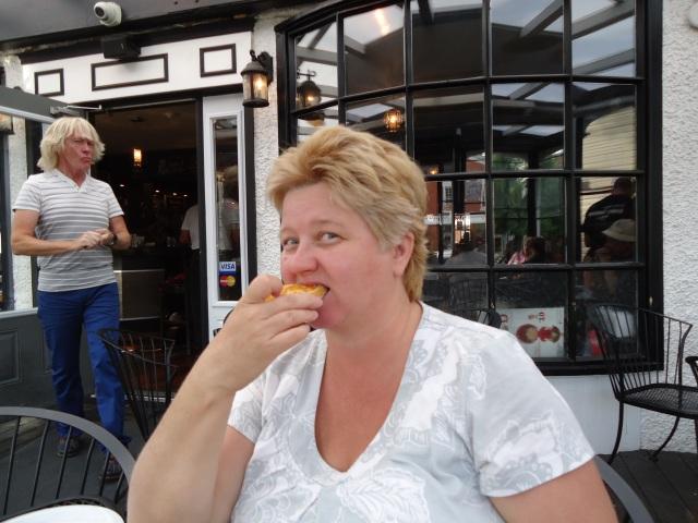 Linda Randall Host behind her Corks Winebar Eatery Queen St NOTL