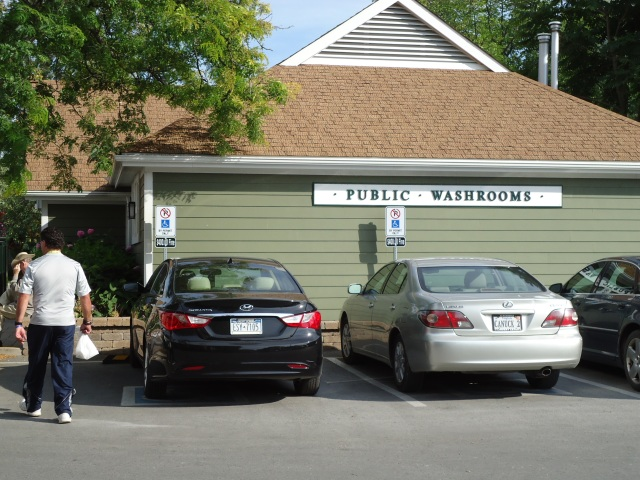 public washrooms behind LCBO Queen St King St NOTL harry linda randall