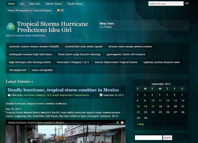 Tropical Storms Hurricane Predictions Idea Girl - Idea Girl Severe Storm Predictions wordpress blog reaches goal 5,114 hits