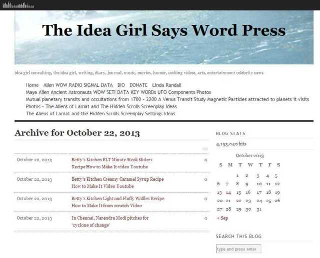 22 - October - 2013 - The Idea Girl Says Word Press betty's kitchen click on date on calendar to find blog posts for a certain topic linda randall idea girl canada