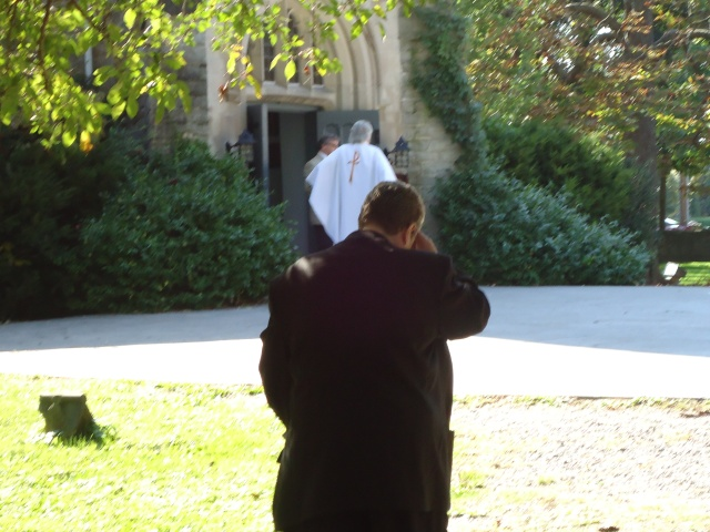 anglican priest greets congregation as they leave after service heather NOTL linda randall