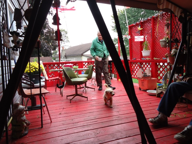 art henry following dog on back porch fort erie ontario canada bbq party