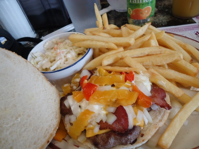 Banquet Burger peppers onions bacon fries coleslaw delicous sambo's restaurant port colborne linda randall