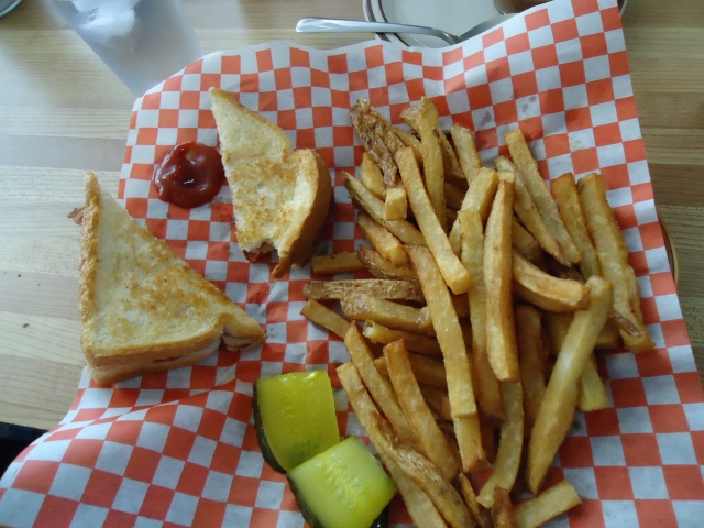 grilled cheese bacon salty fries pickle  chef bistro ridgeway linda randall