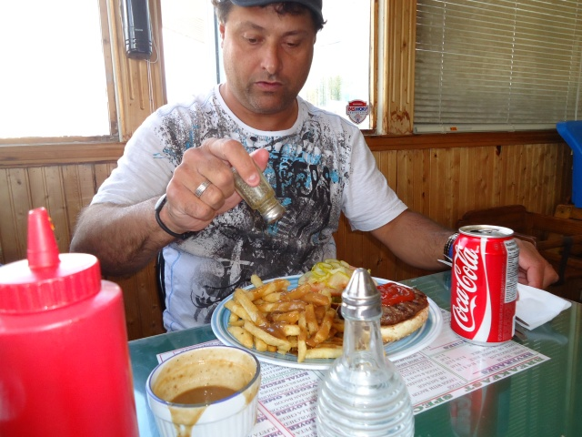 harry enjoying burger fries royal town diner central ave jarvis st fort erie ontario canada linda randall