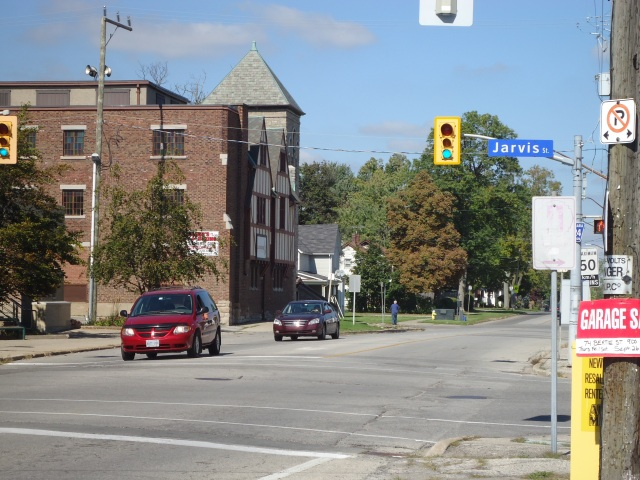 Jarvis St Central Ave street lights view from Royal Town Diner Fort Erie Ontario Canada Linda Randall Sept 27 2013