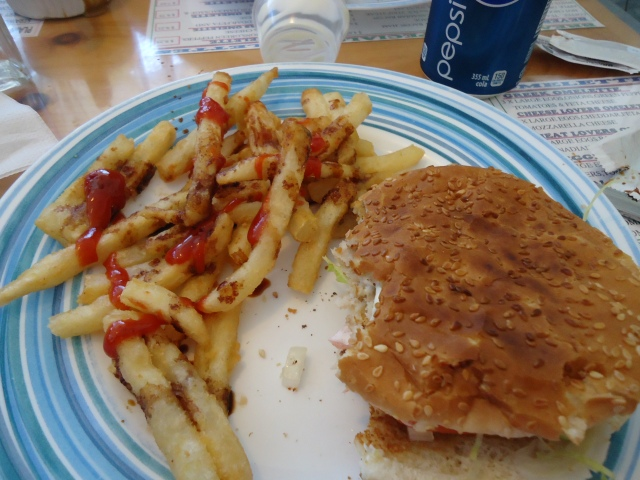 seasame seed bun chicken burger mayo tomato lettuce fries malt vinegar ketchup royal town diner linda randall 27 sept 2013