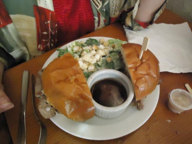 the old angel inn Beef on bun guiness gravy ceasar salad sandy's yummy food NOTL linda randall
