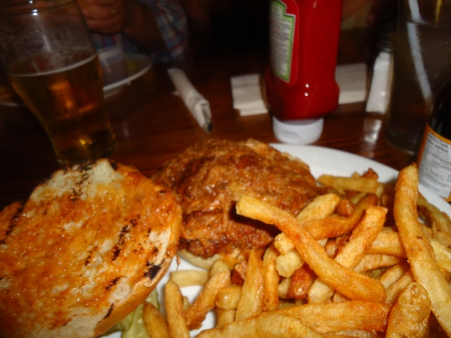 the old angel inn huge pulled pork bbq bun homemade fries (guiness gravy beer) oct 1 2013 linda randall NOTL