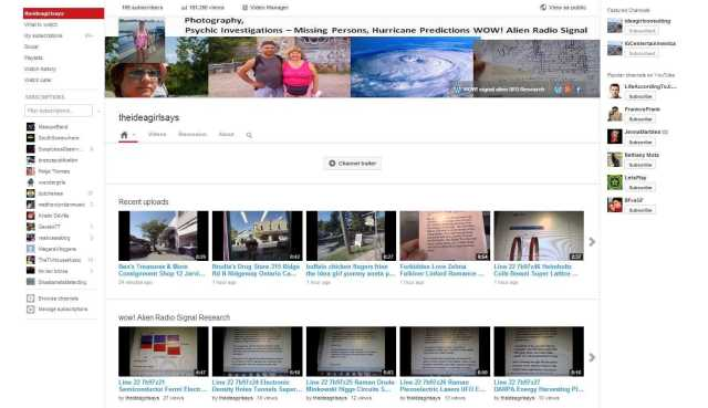 theideagirlsays - YouTube channel photography psychic investigations missing persons hurricane predictions travel tourism video blogging WOW! alien radio signal 181,350 views 189 subscribers sept 30 2013