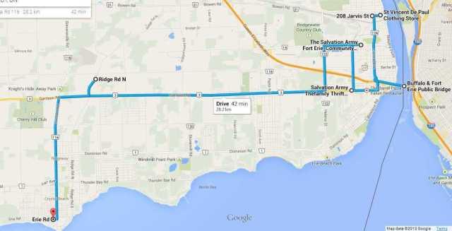 thrift-shop-map-route-peace-bridge-jarvis-st-wintermute-garrison-ridge-rd-n-erie-rd-fort-erie-ridgeway-crystal-beach-ontario-canada
