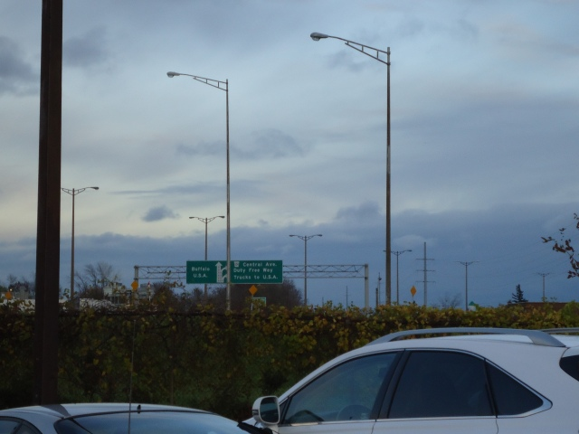 central ave traffic to USA peace bridge QEW sign beside comfort inn hospitality ave off walden concession st fort erie ontario canada