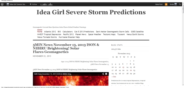 Idea Girl Severe Storm Predictions   Geomagnetic Coronal Mass Ejections Solar Flares Global Weather Warnings reaches 202,572 hits linda randall