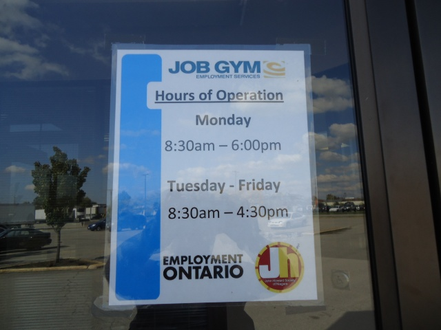 job gym hours mon 8 - 6 pm tues - fri 830 - 430 pm closed sat, sun wintemute and central ave fort erie ontario canada