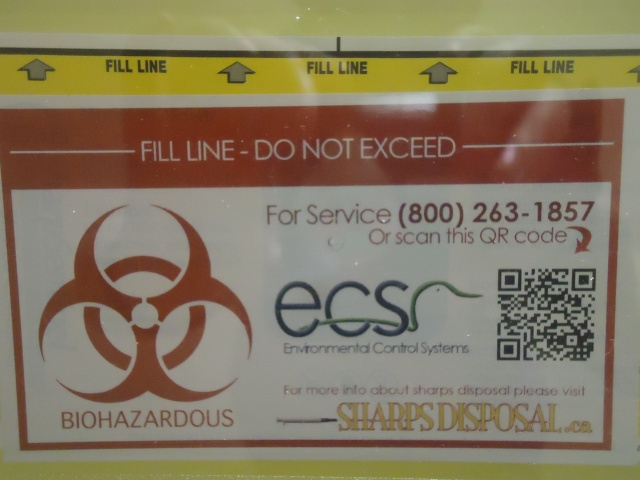 needle sharps disposal biohazardous ECS 800 263 1857 inside job gym washroom central ave fort erie ontario canada