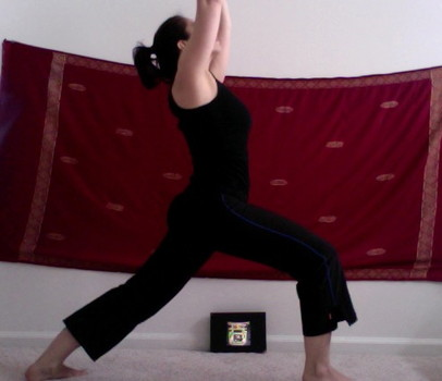 Supported Virabydrasana I (Warrior One) leg core strength for knees