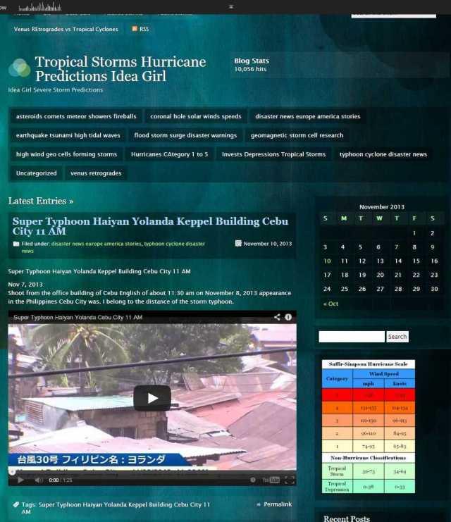 Tropical Storms Hurricane Predictions Idea Girl - Idea Girl Severe Storm Predictions Linda Randall WordPress Blog reaches 10,056 hits 9 Nov 2013 1114 pmest