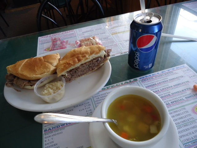 beef dip gravy horseradish chicken rice soup pepsi pop royal town diner lunch special under $7 linda randall