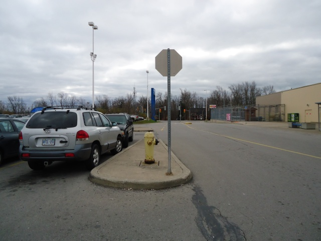 bus stop at stop sign to downtown Jarvis St Fort Erie Library Shops Restaurants Niagara Parkway Peace Bridge