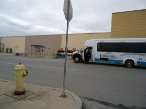 Bus Stops Jarvis St by Fire Hydrant stop sign, crystal beach ridgeway ymca clarion regional bus by walmart entrance
