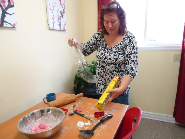 debbie wraps leftover dough in cellophone for next meeting nov 28 2013 1 to 3 pm community house