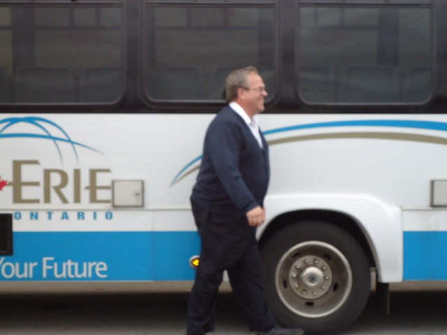 earl laughs as I try to take his picture fort erie transit bus driver love his sense of humor!