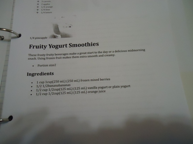 Fruity Yogurt Smoothies Recipes Women's Group Community House Fort Erie Shake it Bake It fun