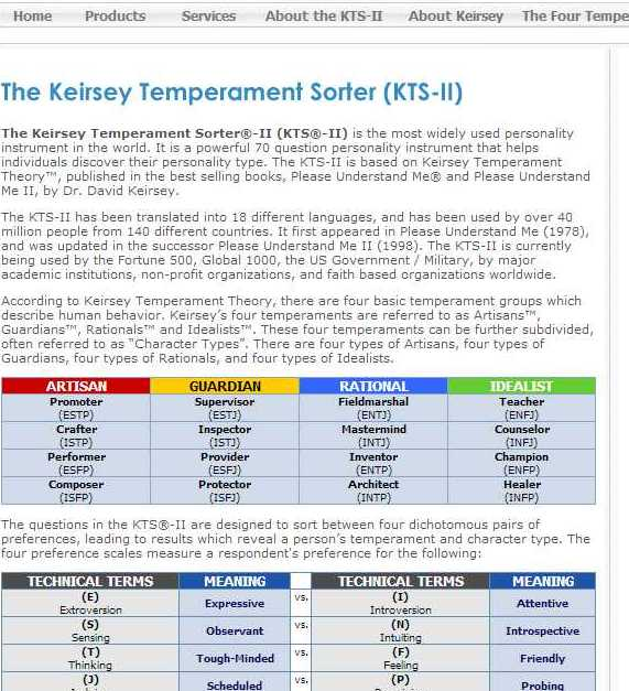 keirsey temperment test