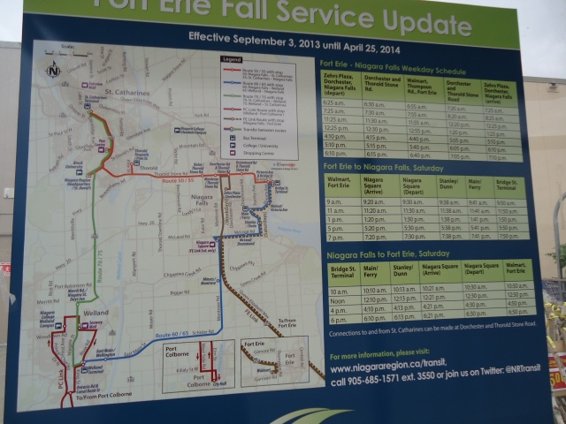 Niagara REgional Bus Map Route Fort ERie Port Colborne Welland Niagara Falls Walmart fort erie bus stop