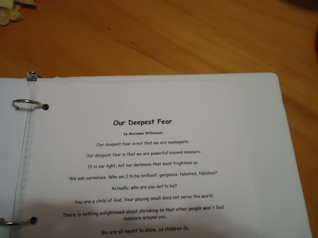 poem our deepest fear marianne williamson community house women's group 5 dec 2013 linda randall