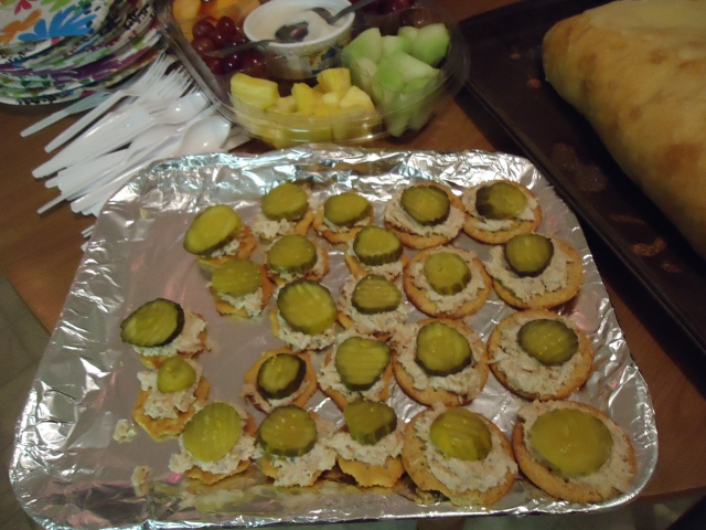 salmon patte pickles breton crackers heather Christmas Party  30 nov 2013 linda randall
