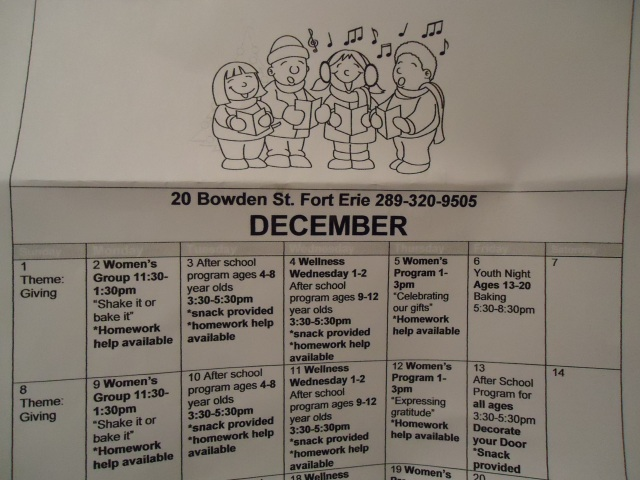 women's group community house december calendar 20 bowden st fort erie 289 320 9505