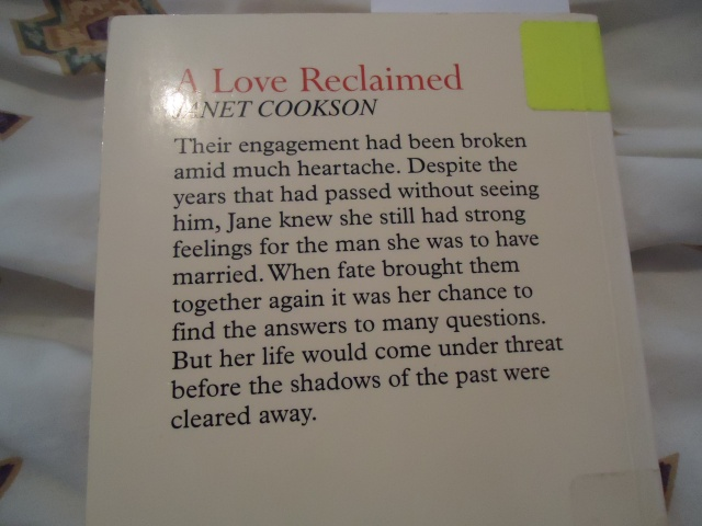 A Love Reclaimed Janet Cookson Book Cover