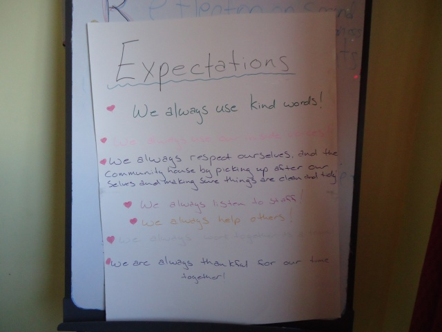 expectations kind words respect share clean tidy listen help thankful community house fort erie dec 2013