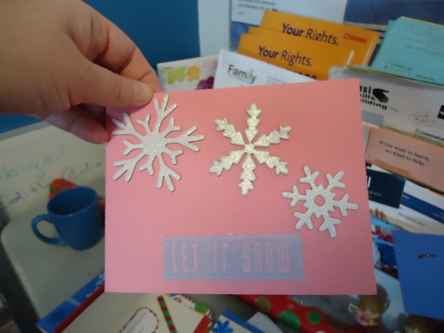 pink silver let it snow christmas card craft by ashley