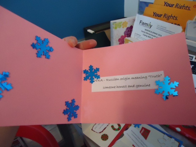 vera means truth someone honest and genuine christmas  pink blue star card craft linda randall (by ashley)