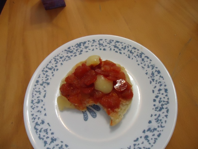 no name salsa toasted english muffin pizza pepperoni mozza cheese linda randall
