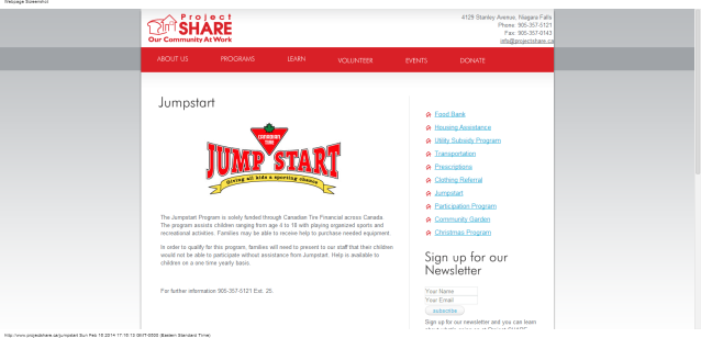 Project SHARE - Canadian Tire the Jumpstart Program fort Erie Ontario Canada 905 357 5121 ext 25 idea girl canada linda randall