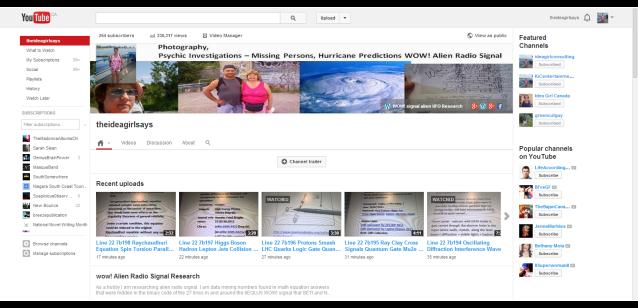 theideagirlsays - YouTube 230,317 views 254 subscribers 7 feb 2014 linda randall WOW! signal SETI